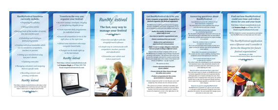 Run My Festival Tri-Fold A4 Brochure Design | Festival Management