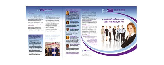 ps care home management 6 page gatefold brochure design care home
